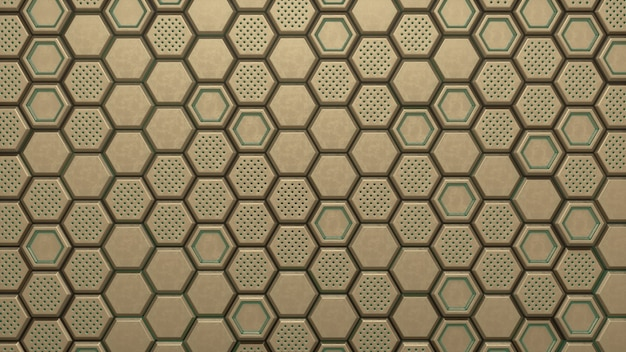 Abstracte gouden zeshoekig