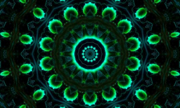 Abstracte groene geometrische naadloze patroonachtergrond. abstracte strepen caleidoscoop. psychedelische kleurrijke caleidoscoop vj achtergrond. disco abstracte achtergrond. caleidoscoop effect.