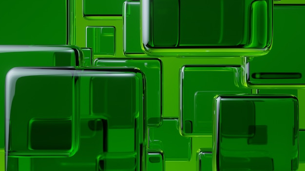 Abstracte groene glazen kubussen 3d render op groene achtergrond