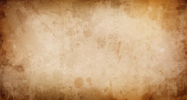 Abstracte grunge achtergrond, beige rand bruin verfrommeld oud papier, perkament, sjabloon