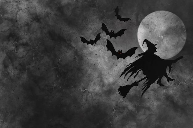 Abstracte halloween-achtergrond met heks en vleermuizen tegen de donkere maan