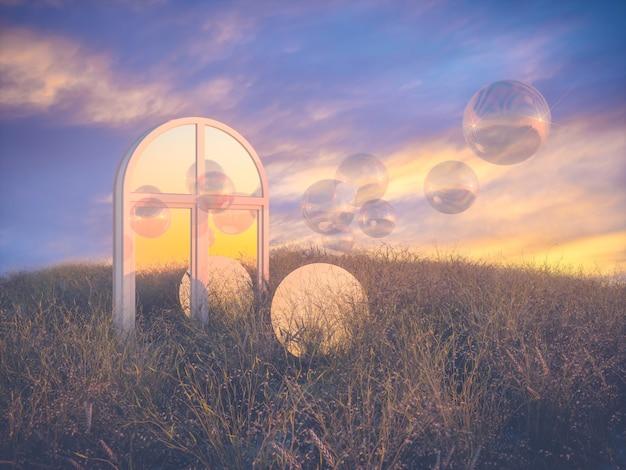 Abstracte halloween-scène met maan en bellenballen.