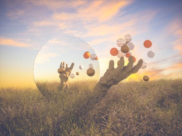 Abstracte halloween-scène met zombiehanden en ballen.