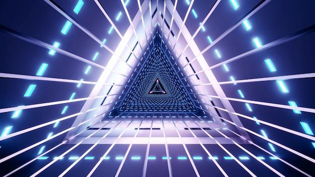 Abstracte heldere driehoekstunnel verlicht met gloeiende blauwe lampen