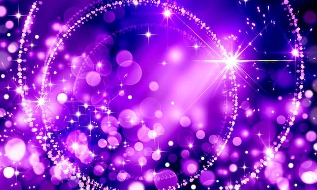 Abstracte heldere gloeiende feestelijke paarse bokeh achtergrond voor verjaardag of feest