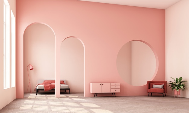 Abstracte interieur woonkamer en slaapkamer met architectonische elementen in roze toon