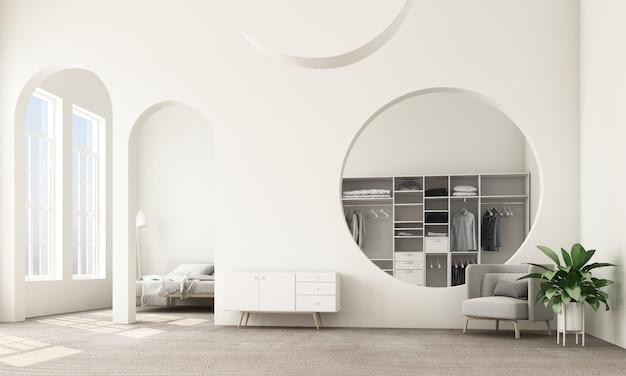 Abstracte interieur woonkamer en slaapkamer met architectonische elementen in witte tint