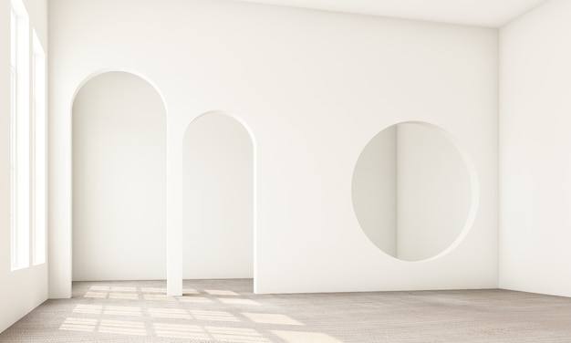 Abstracte interieur woonkamer en slaapkamer met architectonische elementen in witte toon circulaire