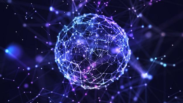 Abstracte internet verbinding netwerk wereldbol achtergrond met bewegingseffecten.