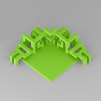 Abstracte isometrische opstelling van een uitbreidende kubus 3d illustratie