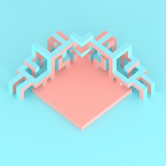 Abstracte isometrische regeling van een uitbreidende kubus 3d illustratie