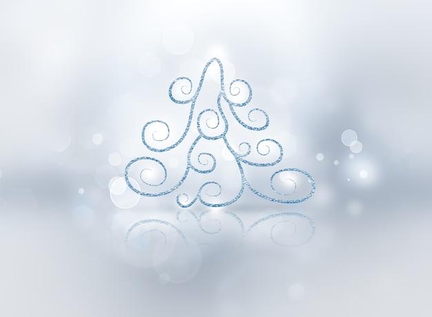 Abstracte kerstboom op zilveren achtergrond