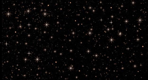 Abstracte kerstmisachtergrond met gouden confettien van gele sterren op zwart