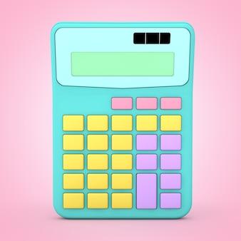 Abstracte kleur toy calculator pictogram op een roze achtergrond. 3d-rendering