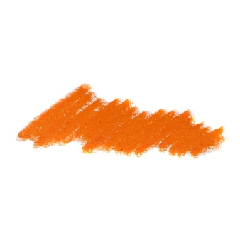Abstracte kleurpotlood op witte achtergrond. oranje krijt krabbel textuur. was pastel vlek.