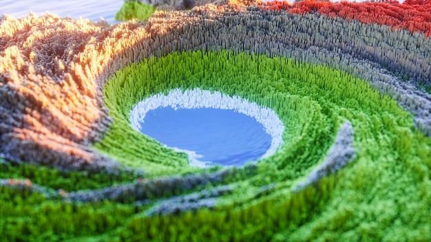 Abstracte kleurrijke achtergrond. 3d topografisch natuurlandschap met groen gras en blauw meer.