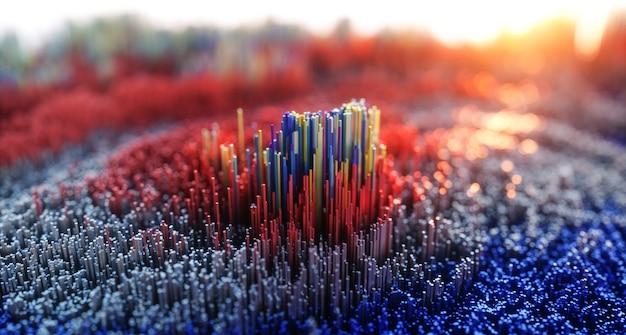Abstracte kleurrijke achtergrond. digitale natuurkunst van 3d bergrots of stad.