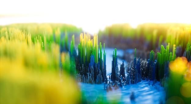 Abstracte kleurrijke achtergrond. digitale natuurkunst van groen de winterbos.