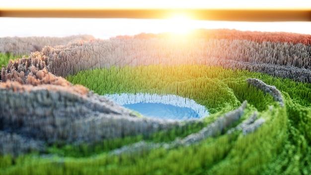 Abstracte kleurrijke achtergrond. digitale natuurkunst van met groene bergen en blauw meer.
