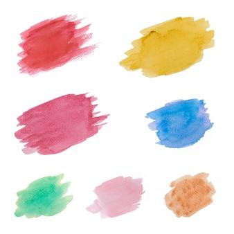 Abstracte kleurrijke aquarel hand verf vlekken op witte achtergrond.