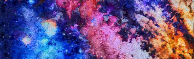 Abstracte kleurrijke aquarel voor achtergrond. ruimte handgeschilderde aquarel achtergrond. abstracte melkweg schilderij. kosmische textuur met sterren