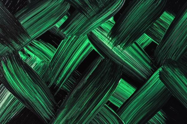 Abstracte kunst achtergrond donker groene en zwarte kleuren. aquarel op doek met smaragdgroene strepen en plons. acryl kunstwerk op papier met penseelstreekpatroon. textuur achtergrond.