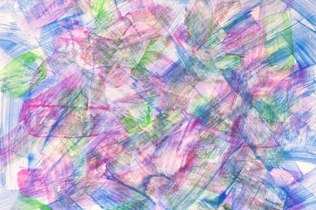 Abstracte kunst achtergrond lichtblauwe en paarse kleuren. waterverfschilderij op canvas met levendige kleurenstreken en plons. acryl kunstwerk op papier met groen gevlekt patroon. textuur achtergrond.