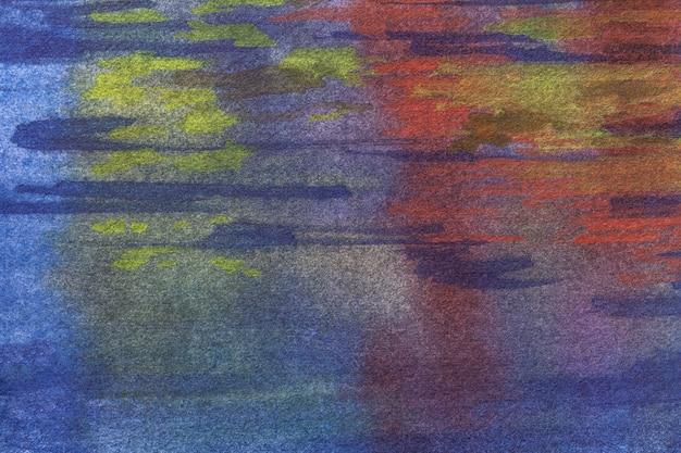 Abstracte kunst donkere marineblauwe en rode kleuren als achtergrond. aquarel op doek met paars zacht verloop.