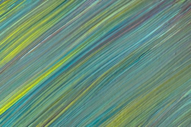 Abstracte kunst groene en blauwe achtergrondkleuren. aquarel op doek met turquoise strepen en plons. acryl kunstwerk op papier met olijf gevlekt patroon. textuur achtergrond.