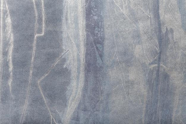 Abstracte kunst marineblauwe en zilveren kleur als achtergrond. multicolor schilderij op canvas.