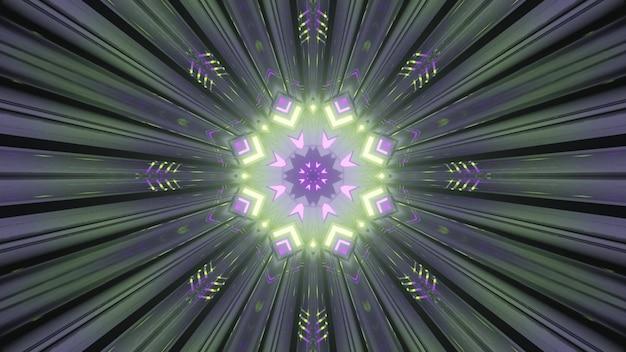 Abstracte kunst visuele achtergrond 4k uhd 3d illustratie perspectiefweergave binnen ronde gevormde tunnel met symmetrisch geometrisch ontwerp en gloeiende neonverlichting die een fantastisch kleurrijk patroon creëert