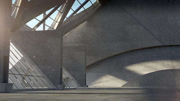 Abstracte lege ruimte concrete, moderne architectuurachtergrond. 3d-weergave