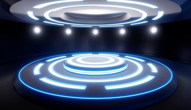 Abstracte lege studio met voetstuk en blauwe verlichting. 3d visualisatie.