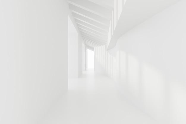 Abstracte lege witte gang. toekomstige interieur achtergrond. 3d render