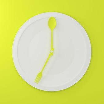 Abstracte lepel en vork op witte ronde plaat in een vorm van klok op groene achtergrond