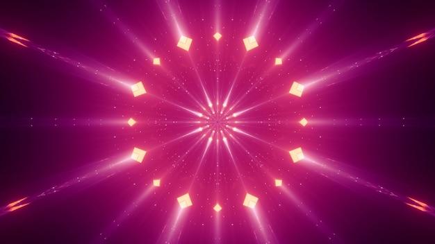 Abstracte levendige neonstralen met kleine ruiten die in duisternis gloeien