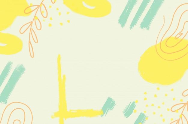 Abstracte lichte achtergrond met gele en groene penseelstreken en verfspatten