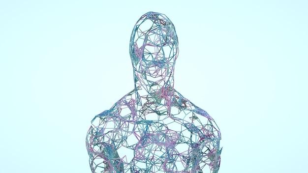 Abstracte man bestaande uit lijnen menselijke biologische structuur menselijke wetenschap 3d-rendering