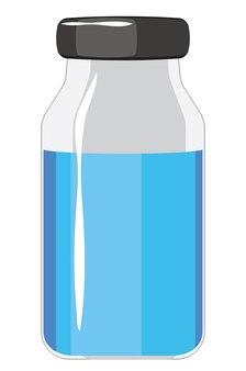 Abstracte medische ampul, flesje, fles, vaccinatie, injectie, infectie preventie illustratie.