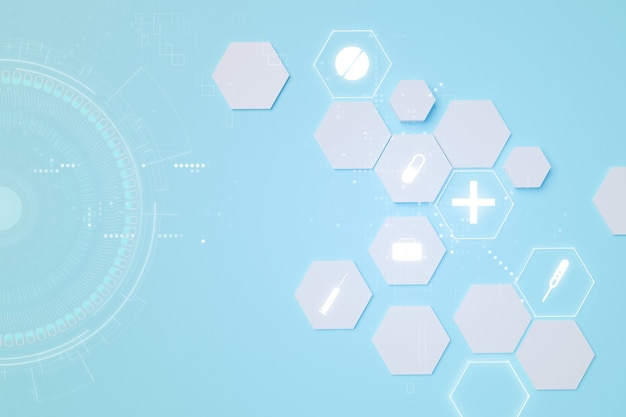 Abstracte medische illustraties achtergrond, 3d-illustraties rendering