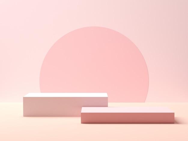 Abstracte meetkundevorm. roze podium op roze kleurenachtergrond voor product. minimaal concept. 3d-weergave