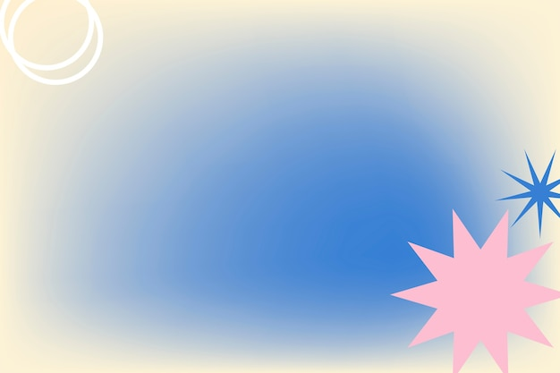 Abstracte memphis blauwe achtergrondgradiënt met geometrische vormen