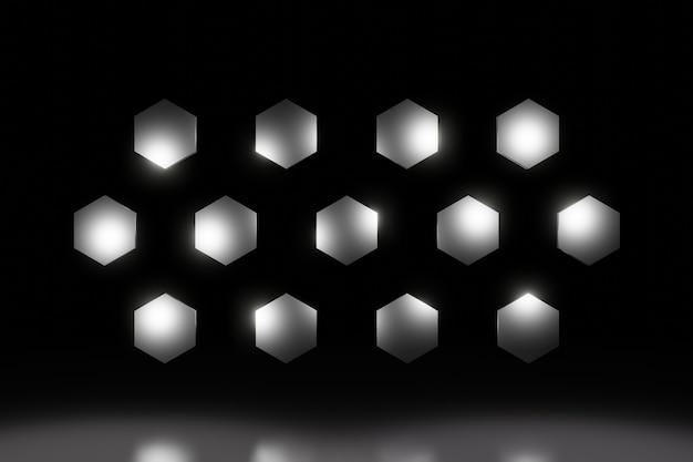 Abstracte metalen zeshoek honingraat achtergrond 3d-rendering