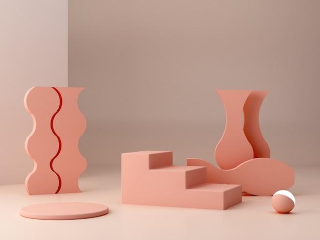 Abstracte minimale scène met geometrische vormen. cilinderpodiums en trappen in crème kleuren. abstracte achtergrond. scène om cosmetische producten te tonen. showcase, winkelpui, vitrine. 3d render.