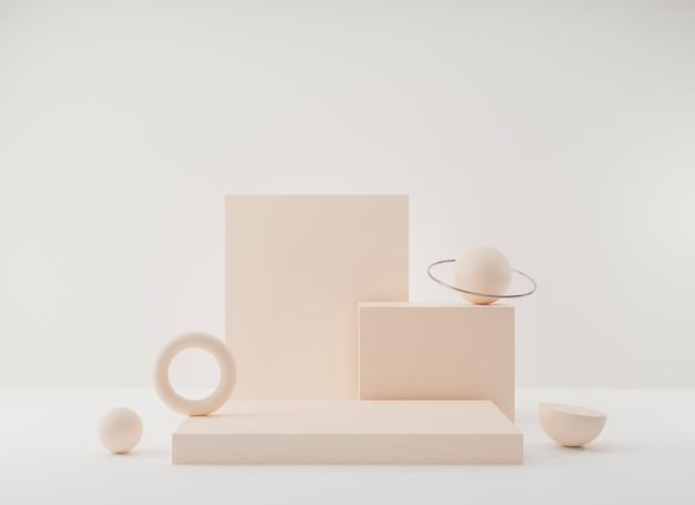 Abstracte minimale scène met geometrische vormen lege podiumvertoning op minimale achtergrond ontwerp voor productpresentatie d rendering