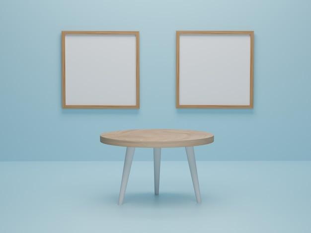 Abstracte minimale scène met geometrische vormen. ronde houten tafel met fotolijst achtergrond presentatie mockup. 3d render, 3d illustratie