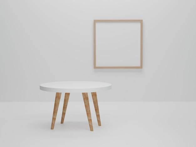 Abstracte minimale scène met geometrische vormen. ronde tafel met fotolijst achtergrond presentatie mockup. 3d render, 3d illustratie