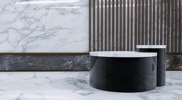 Abstracte minimale scène met geometrische vormen. toon cosmetisch product, podium, podiumsokkel of platform. 3d houten podiumvertoning met bladschaduw. 3d render