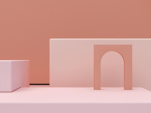 Abstracte minimale scène met podia met geometrische vormen in crèmekleuren
