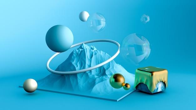 Abstracte minimalisme achtergrond in de studio met een berg en elementen. 3d-weergave.